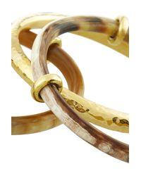 Ashley Pittman - Metallic Karibu Set Of Three Horn and Goldtone Bangles - Lyst