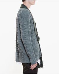 Miharayasuhiro - Gray Cable Knit Cardigan for Men - Lyst