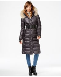 Rudsak | Black Coyote-fur-trim Leather-trim Maxi Puffer Coat | Lyst