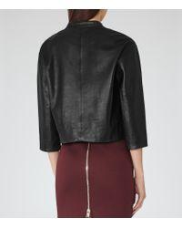 Reiss - Black Nela Collarless Leather Jacket - Lyst