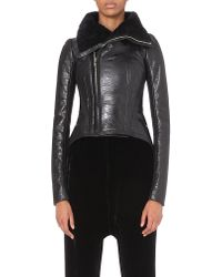 Rick Owens - Black Coated Shearling Jacket - Lyst