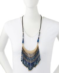 Nakamol | Blue Beaded Fringe Bib Necklace | Lyst