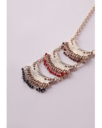 Missguided | Metallic Tiered Beaded Longline Necklace | Lyst