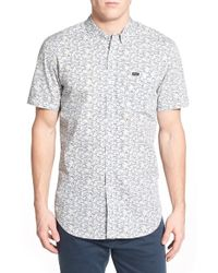 RVCA - White 'right You Are' Trim Fit Short Sleeve Print Woven Shirt for Men - Lyst