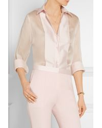 Pallas - Blue - Fedoral Faille-paneled Silk-organza Shirt - Pastel Pink - Lyst
