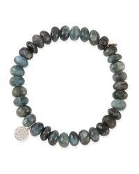 Sydney Evan | Blue 8Mm Faceted Shade Moss Aqua Beaded Bracelet With 14K Gold/Diamond Disc Charm | Lyst