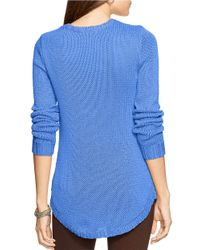 Lauren by Ralph Lauren | Blue Ribbed Crewneck Sweater | Lyst