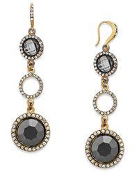 INC International Concepts - Metallic Gold-tone Hematite Stone Linear Drop Earrings - Lyst