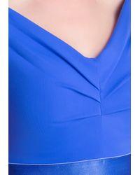 Bebe - Blue Off Shoulder Crop Top - Lyst