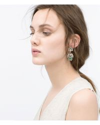 Zara | Gray Crystal Jewel Earrings | Lyst