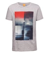 BOSS Orange | Gray T-shirt 'thiemon 1' In Cotton for Men | Lyst