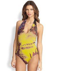 Jean Paul Gaultier | Purple Palm Leaf-Print Halter One-Piece Swimsuit | Lyst