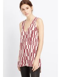 Vince - Purple Piano Print Sleeveless Silk V-neck Top - Lyst