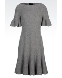 Emporio Armani | Gray Seamless Dress Boiled Wool Effect | Lyst