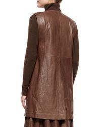 Lafayette 148 New York - Brown Inez Lambskin Leather Zip-front Vest - Lyst