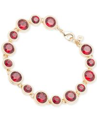 Nine West | Metallic Gold-tone Red Crystal Bracelet | Lyst