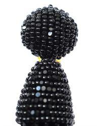 Oscar de la Renta - Black Beaded Short Tassel Clip Earrings - Lyst