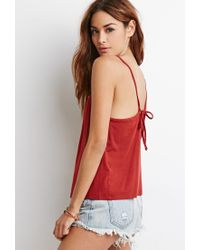 Forever 21 | Brown Buttoned Tie-back Cami | Lyst