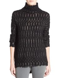 Velvet By Graham & Spencer | Black Loose Knit Turtleneck Sweater | Lyst