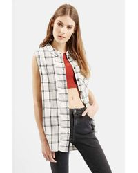 TOPSHOP - Gray Sleeveless Button Front Plaid Shirt - Lyst