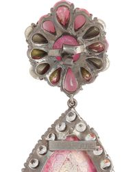 Shourouk - Pink Roma Gunmetal-Tone Crystal Earrings - Lyst