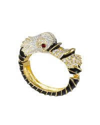 Kenneth Jay Lane - White Black And Crystal Dolphin Bracelet - Lyst