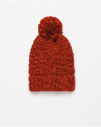 Zara | Red Pompom Knit Hat | Lyst