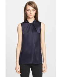 St. John | Blue Liquid Satin Wrap Neck Shell | Lyst