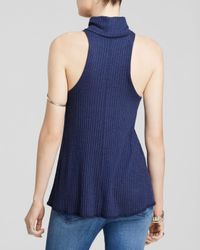Free People - Blue New City Ribbed Turtleneck - Lyst