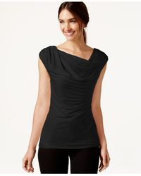 Laundry by Shelli Segal | Black Sleeveless Drape-neck Top | Lyst