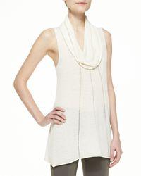 Donna Karan - White Sleeveless Cowl-Neck Top - Lyst