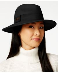 Calvin Klein | Black Faux Tortoise Logo Wool Felt Panama Hat | Lyst