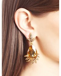 Oscar de la Renta | Metallic Swarovski Crystal Teardrop Earrings | Lyst