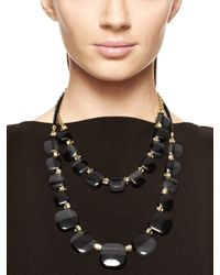 Kate Spade | Black Colorblock Double Strand Necklace | Lyst