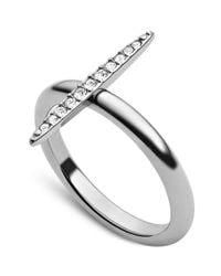 Michael Kors - Metallic Silvertone Crystal Pavè Matchstick Ring - Lyst