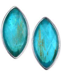 Jones New York - Blue Silver-Tone Navette Stone Clip-On Earrings - Lyst