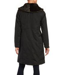 Ellen Tracy | Black Reversible Faux Fur Coat | Lyst