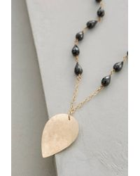 Anthropologie - Black Nelumbo Pendant Necklace - Lyst