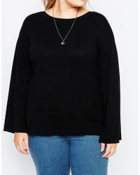 Asos Curve | Black Jumper With Wide Sleeve In Cashmere Mix | Lyst