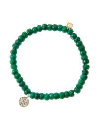 Sydney Evan | 8mm Faceted Green Beaded Bracelet W/14k Gold Diamond Evil Eye Charm | Lyst