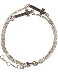DSquared² - Metallic Silver Cross Bracelet - Lyst