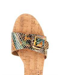 Stella McCartney - Natural Linda Python-Print Wedge Sandals - Lyst