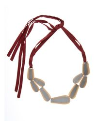 Zeus+Dione - Metallic Bronze Leaf Silk Necklace - Lyst