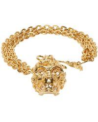 Alexander McQueen | Metallic Gold Forest Rose Skull Charm Bracelet | Lyst