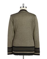 Calvin Klein | Black Plus Striped Open-front Knit Cardigan | Lyst
