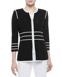 Misook - Black Contrast-Piped Jacket - Lyst
