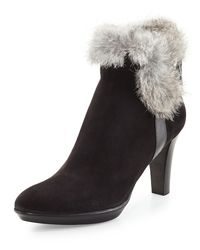 Aquatalia | Black Rebecca Fur Buckle Boot | Lyst