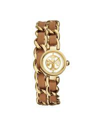 Tory Burch - Metallic Reva Mini Chain Double-wrap Watch, Luggage Leather/gold-tone, 20.5 Mm - Lyst