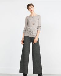 Zara | Gray Elastic Detail Top | Lyst