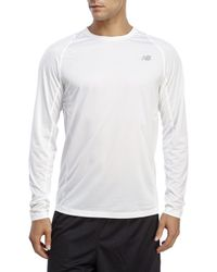 New Balance | White Accelerate Run Long Sleeve Performance Tee for Men | Lyst